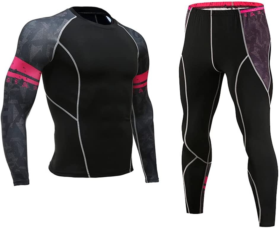GYZCZX Men Thermal Underwear Tight Elastic Fitness Shaper Long Sleeve Undershirt Compression Leggings (Color : G, Size : S Code)