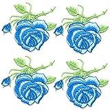 Apliques de costura 4 Piezas Rose Parches Bordado Parches de