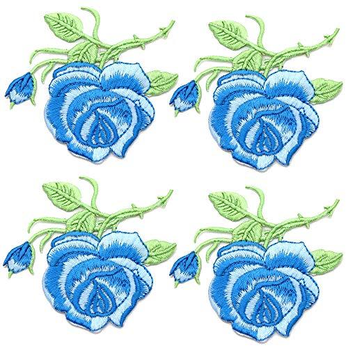 Sew iron on parche de pegatinas adhesivos ropa Applique DIY accesorios decorativos 4 piezas de flores apliques de hierro bordado de color rosa en parches para ropa rayas ropa apliques
