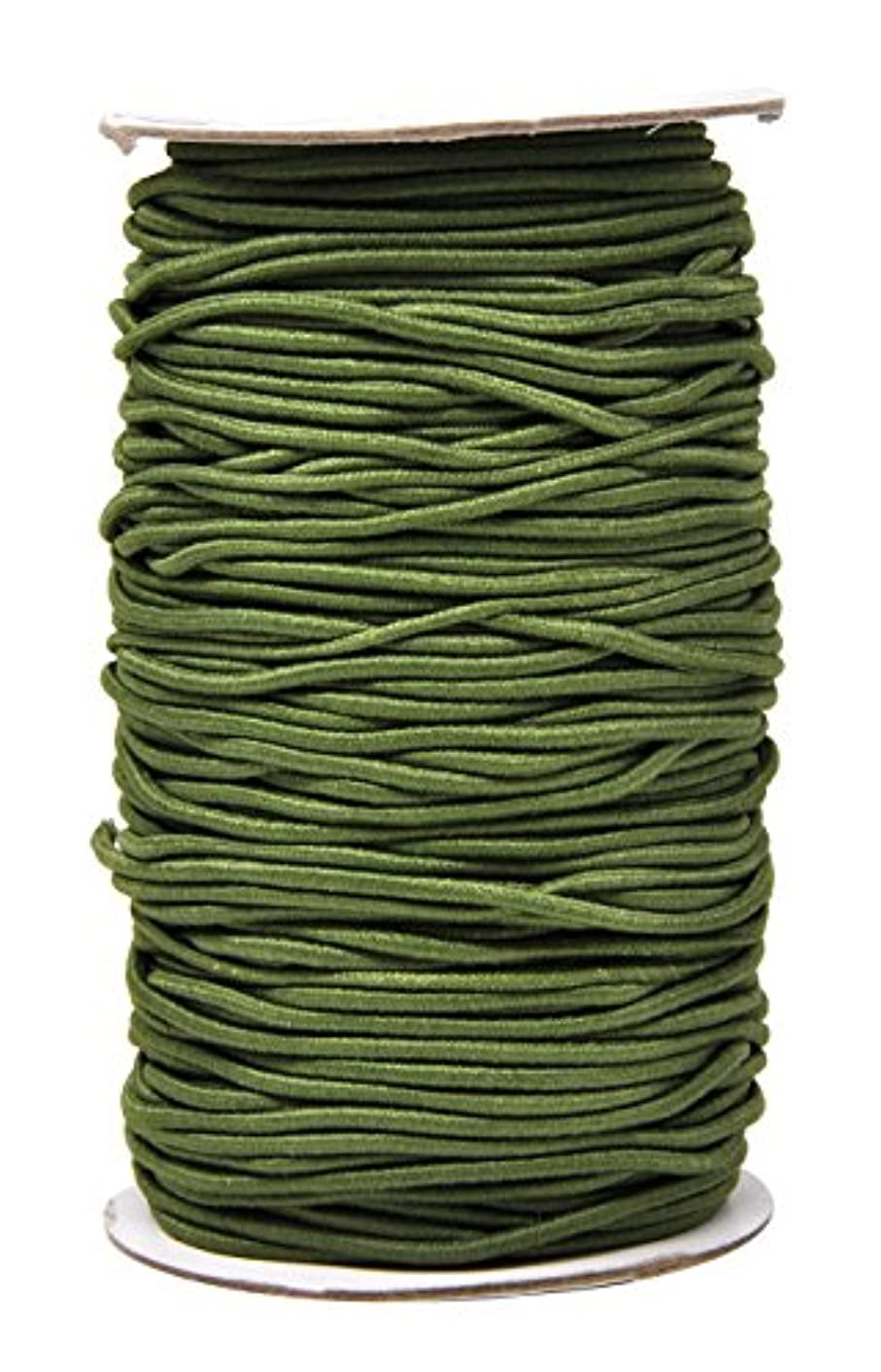 Mandala Crafts 2mm 76 Yards Fabric Elastic Cord, Round Rubber Stretch String for Journals, Beading, Jewelry Making, Masks, DIY Crafting (Olive Green)