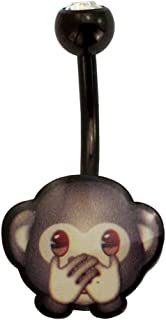 emoji Black 316L Stainless Steel 14G Speak No Evil Monkey Belly Button Ring Body Piercing Jewelry Fun Emoticon Navel Ring for Women 7/16