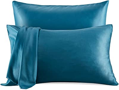 SLEEP ZONE Satin Pillowcases Temperature Regulation Set of 2 for Hair and Skin Standard/Queen 20x30 Pillow Cover (Queen, Teal)