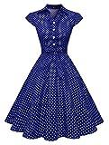 Wedtrend Vestido Vintage Escote V 1950s Cóctel Rockabilly Mujer Vestido Fiesta WTP10007 NavyWhiteDot S