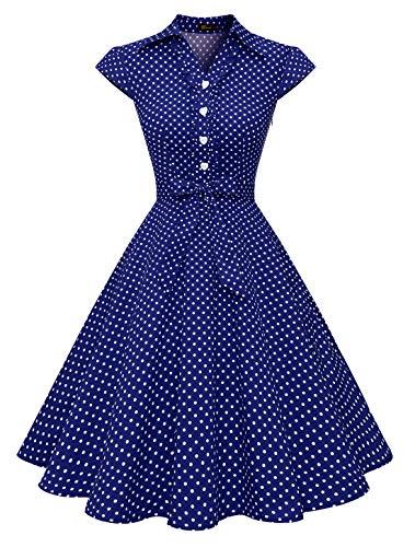 Wedtrend Damen 50er Retro Herzform Knopf Rockabilly Kleid Kurzer Ärmel A-Linie Kleider WTP10007 NavyWhiteDot M