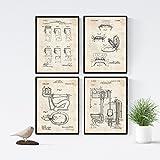 Nacnic Vintage - Packung mit 4 Blatt mit PATENTEN WC. Stellen Sie Plakate mit Erfindungen und Alten Patenten. Wählen Sie die Farbe, die Sie mögen. Gedruckt auf hochwertigen 250 Gramm