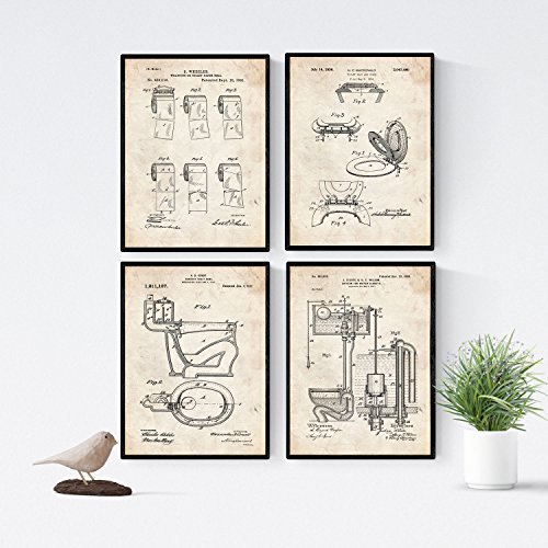 Nacnic Badezimmer Patent Poster 4er-Set. Vintage Stil Wanddekoration Abbildung von Toiletten und Alte Erfindungen. Verschiedene lustig Klempnerei Bilder ohne Rahmen. Größe A4.
