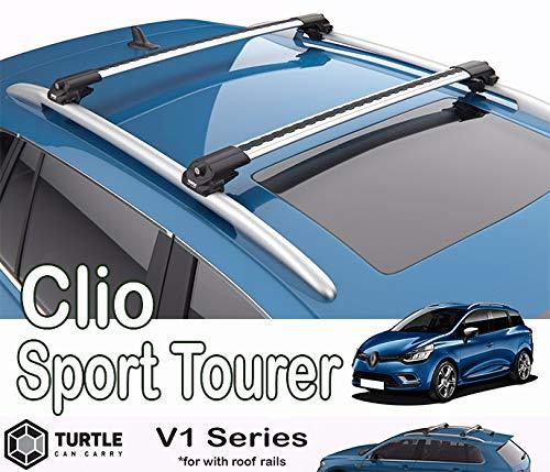 Clio Sport Tourer 2014 – 2019 Tortuga Plateada Air V2 Barra Transversal para Techo