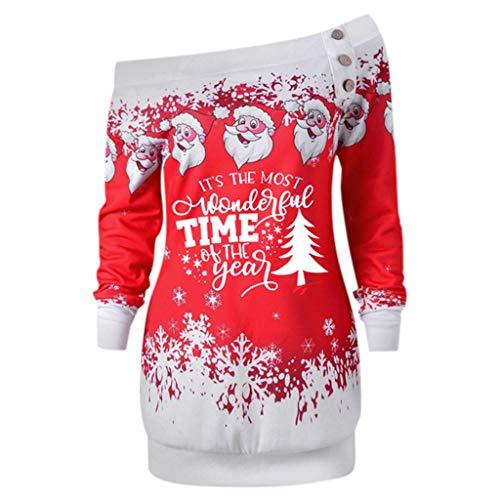 Dorical Weihnachts Sweatshirt Damen Herbst Winter Warm Wein Blau Lila Schulterfreier Aufdruck Pullover Sweater Hochwertige Schicke Sexy Schöne Günstige Online Bestellen Sale (X-Large, Z4-Rot)