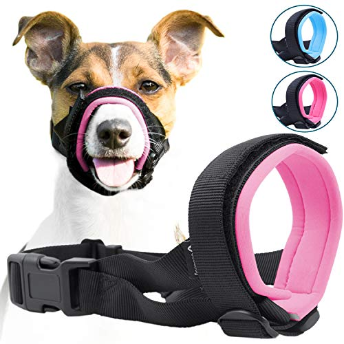 Gentle Muzzle Guard for Dogs - Prevents Biting and Unwanted Chewing Safely – New Secure Comfort Fit - Soft Neoprene Padding – No More Chafing – Training Guide Helps Build Bonds with Pet (M, Pink)