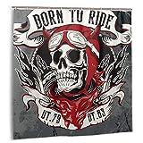 zheng Tende da Doccia per Set di Tende da Bagno,Toppa Moto Nera Vintage Motociclista Emblema del Cranio Casco Club Tende da Bagno in Tessuto con Ganci 72x72 Pollici