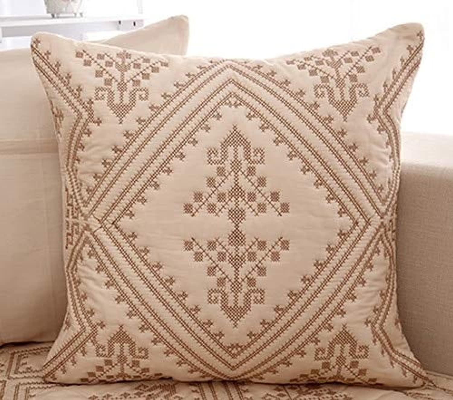 Farmerly 1Pcs Plaid Pattern Sofa Cover European Style Embroidered Slipcover Slip Resistant Sofa Seat Couch Cover for Living Room Decor   1PCS Pillowcase 02, 90x90cm 1pc