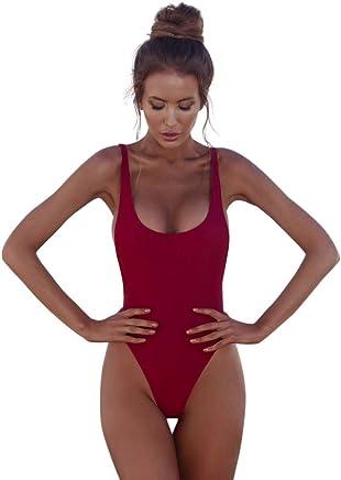 SHJIRsei Costumi da Bagno Donna Bikini Estate Costume Intero Donna Mare Brasiliana Costumi Interi Taglie Forti Push Up 2019 Costume Intero Elegante Tinta Unita Cinturino - Confronta prezzi