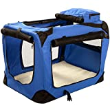 MOOL Large Pet Carrier Crate with Reversible Fleece Mat, Blue
