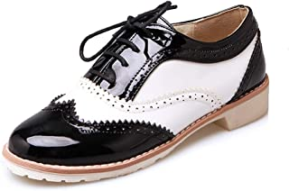 Judy Bacon Women's Two Tone Saddle Oxford Shoes Wingtip Perforated Lace Up Flat Low Heel Vintage Oxfords Brogues Beige White