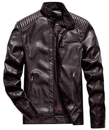 Itemnew Men's Classic Fit Motorcycle Faux Leather Quilted Biker Jacket (Large, Coffee)