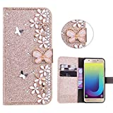 Xifanzi Glitter Wallet Case for Samsung Galaxy J4 Plus Gold