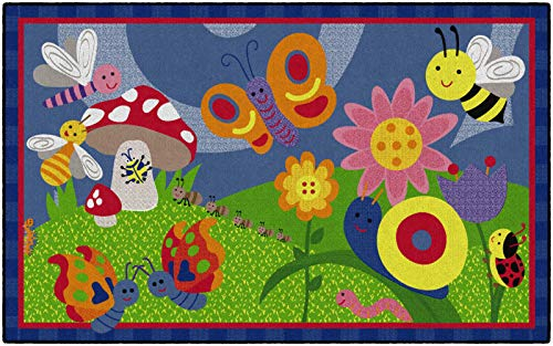 Flagship Carpets CE419-28W Cutie Bugs, Children's Classroom Nursery Rug, Rectangle, 5'x8'