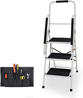 Step Ladder, Folding 3-Step Safety Step Ladder Padded Side Handrails Attachable Tool Pouch, 330lbs Capacity