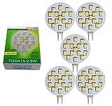 Trango 5er Pack G4 LED Leuchtmittel TGG415-2.5W - 12V AC/DC - 2.5 Watt 250 Lumen mit 3000K Power SMDs warmweiß zum Austausch von G4 GU4 MR16 Halogen Lampensockel Spot