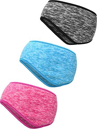 Blulu 3 Pezzi Fascia Calda dell'Orecchio Fascia Copricapo a Copertura Totale Sport Fascia per Capelli per Fitness Sportiva per Uso Esterno (Azzurro, Grigio, Rosa Rossa)