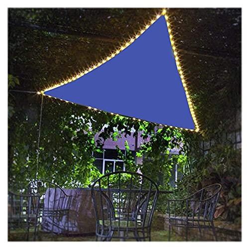HEWYHAT Toldo con Iluminación Nocturna LED De Energía Solar, Vela Sol Triangular Transpirable, 95% Protección UV Velas Solar para Parrilla Jardín,5X5X5m
