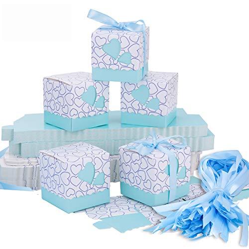 Meersee Cajas de Boda Regalo 100 Cajas de Bautizo Caramelo Cumpleaños Dulces Bombones Regalos Detalles con Cintas para Invitados de Boda Fiesta Comunion, Bautizo Cumpleaños (Azul)