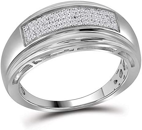 Jewels By Lux Sterling Silver Mens Round Diamond Wedding Pave Band Ring 1 5 Cttw Ring Size 10 product image