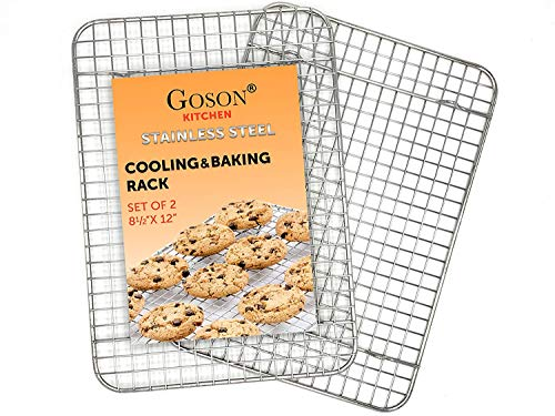 Goson Kitchen Stainless Steel Heavy Duty Metal Wire Cooling, Cooking, Baking Rack For Baking Sheet, Oven Safe up to 575F, Dishwasher Safe Rust Free | 8.5'x12'; SET OF 2