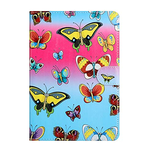 Miagon Tablet Case Cover for All 10 inch Tab(Samsung Android Ipad Amazon kindle etc),PU Leather Creative Pattern Flip Wallet Case with Stand Function Card Slot Shockproof,Colorful Butterfly