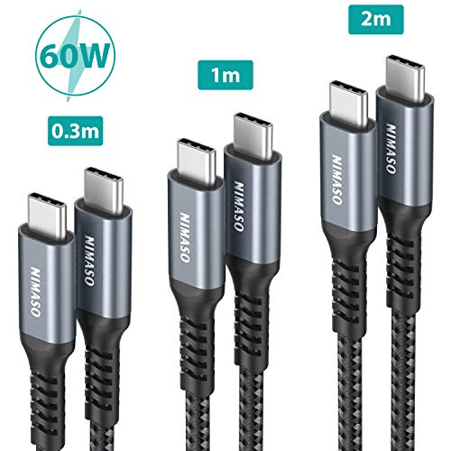 Nimaso USB C auf USB C Kabel [3-Pack/0.3M+1M+2M],USB Typ C PD Ladekabel 60W 20V/3A für Galaxy S20 S10 S9,Note 10,Huawei P30 P20,Google Pixel 3a/3a XL,iPad Pro 2020/2018,MacBook,Dell XPS 15 und Mehr
