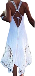 Womens Maxi Dress Summer Lace Splicing Open Back Solid Color Beach Dress