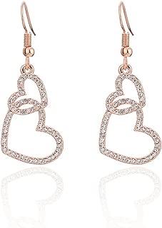 Heart Earring for Women,Drop Dangle Earring Gold Silver Earring Girls Hypoallergenic Earring Vintage Earring with Crystal