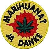 Marihuana? JA Danke Aufnäher DIY Aufbügler Kiffer Patch Flicken Chiller Bügelbild Gras Sticker zum Aufnähen Lifestyle Hippie Cannabisblatt Hanf Applikation für...