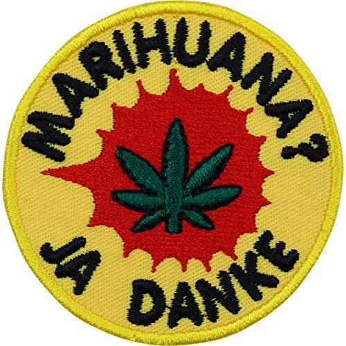 Marihuana? JA Danke Parche DIY termoadhesivo Kiffer Patchwork Chiller Patch Hierba Pegatina para Coser Estilo de Vida Hippie Cannabis Hoja de cáñamo Aplicación para Chaquetas/Bolsas, 60 x 60 mm