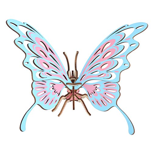 Koozy DIY Wooden Creative Model Toy Kits 3D Jigsaw Puzzles Laser-Cut Natural Wood Butterfly Model