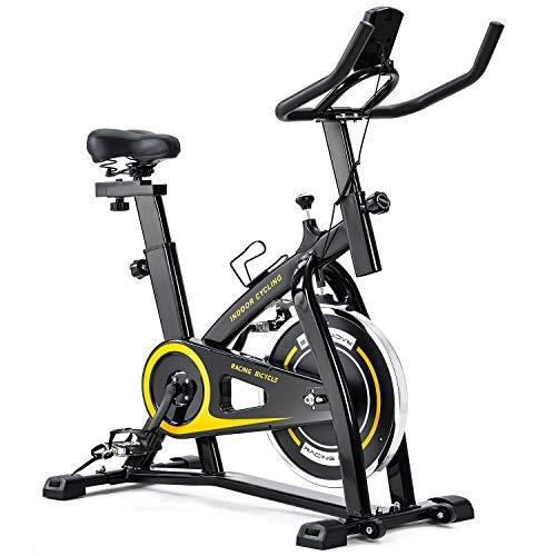 Merax Exercise Bike Indoor Cycling Bike Cycle Trainer Adjustable Stationary Bike 330LBS Weight Capacity (Yellow)