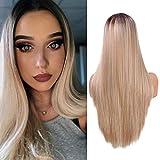 YMHPRIDE Ombre Blonde Pelucas largas y rectas para mujeres Peluca de pelo sintético con parte media de aspecto natural Fibra resistente al calor atada a media mano 22 pulgadas (55,9 cm)