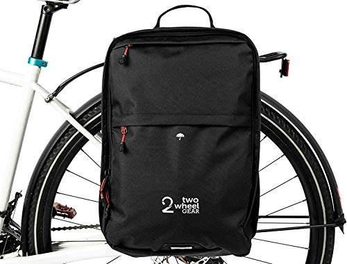 Two Wheel Gear Pannier Backpack Plus – Water Resistant Everyday Laptop Backpack for Work, Gym, Travel, Daily Commuters, Large Capacity Bag, Black, 30L