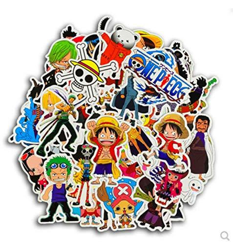 ZJJHX One Piece Sticker Persönlichkeit Cartoon animierte Strohhut Ruffy Sauron Aufkleber Flut Marke Comic wasserdicht Gepäck Aufkleber 48