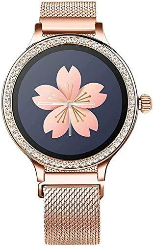 Reloj inteligente para mujer, pulsera de actividad con monitor de ritmo cardíaco, presión arterial, reloj inteligente para mujer, fácil de usar, plata, piel, negro, oro rosa