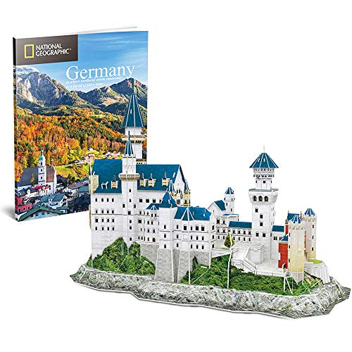 CubicFun 3D Puzzles for Adults and Kids with National Geographic Booklet Germany Neuschwanstein Castle Architecture Model Building Kits, Souvenir and Birthday Gifts for Women and Men 121 Pieces