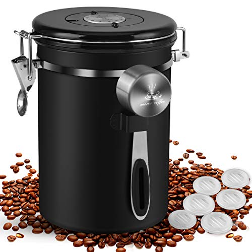 Coffee Canister, MOICO 22oz Stainless Steel Airtight Coffee Bean...
