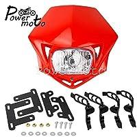 """ヘッドライトダートバイクヘッドランプマスク KTM EXC XR 500 CRF230 ヤマハ WR TTR RMZ 250 450 ワット /7/8""""グリップ-赤い"""