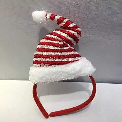Ubrand Weihnachtsschmuck Erwachsene Kinder Weihnachtsstirnband Kopfschnalle Weihnachtsdekoration Artikel Eine Größe/Gold Rot und Weiß Hut Kopfknopf