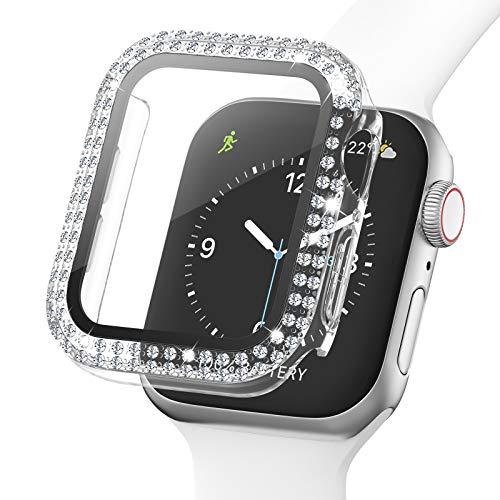 Adepoy Glitzer Gehäuse für Apple Watch 38mm Serie 3/2/1 mit Hartglas Displayschutz, Doppelter Diamant Strassstein, Voller Ultradünner Puffer Schutzhülle für iWatch Frauen Mädchen (Transparent)