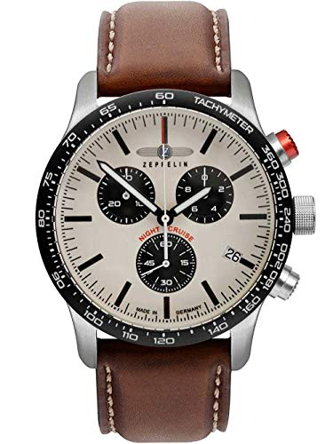 Zeppelin Herrenuhr mit Lederband Serie Night Cruise ETA Quarz Chronograph 10 Bar Datum 7296-1