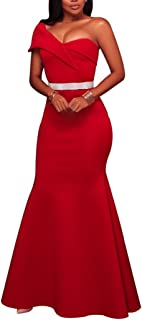 Women's Sexy One Shoulder Ponti Gown Mermaid Evening Maxi Party Dress