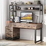 Tribesigns 55 Inch Computer Office Desk with 4 Drawers and Storage Shelves, Industrial Study Writing Table Workstation with Hutch and Bookshelf for Home Office (Brown)