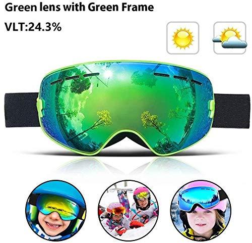 ASPORT Kinderschnee Skibrille, Kinder (Alter 4-15) Schnee Snowboardbrillen mit Anti-Fog UV-Schutz Doppel-Objektiv for Kinder Jugend Jungen Mädchen Schneebrille (Color : Green)