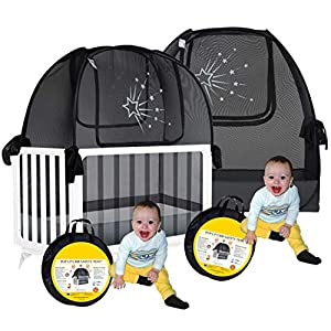 Aussie Cot Net – Twin Pack 2 Popup Baby Crib Tents – Premium Net Cover Crib Tent to Keep Baby from Climbing Out – See Through Crib Netting – Nursery Mosquito Net